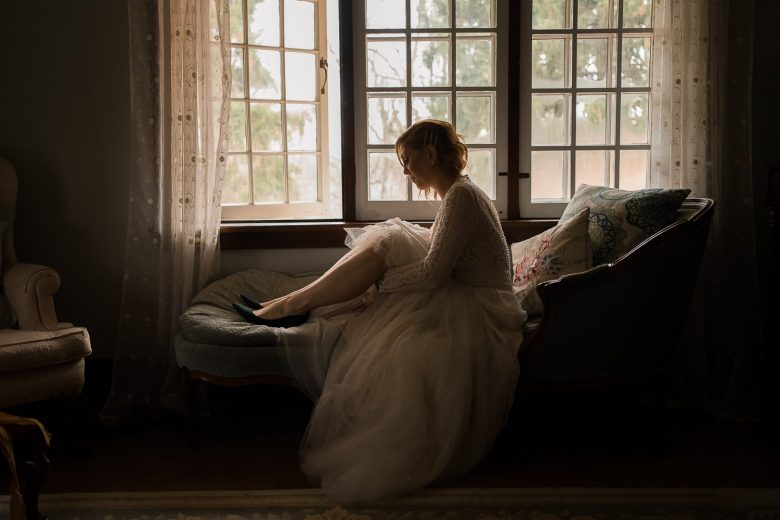 Romantic, dark and moody wedding portrait - kitchener wedding photographer