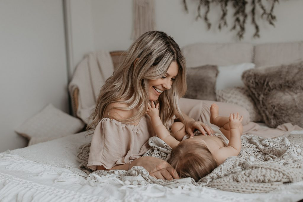 Mother looking down at daughter